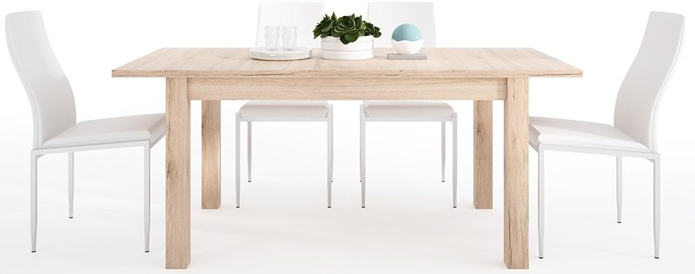 Kensington Oak Extending Dining Table and 6 Milan White Chairs
