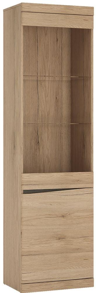 Kensington Oak Right Hand Facing Glazed Display Cabinet
