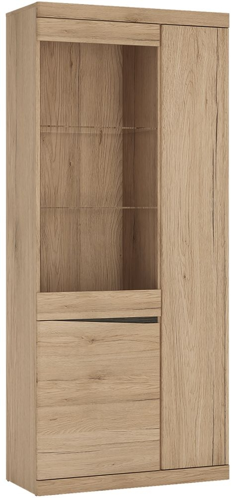 Kensington Oak Tall Wide Glazed Display Cabinet