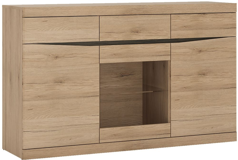 Kensington Oak Glazed Sideboard - 3 Door 3 Drawer