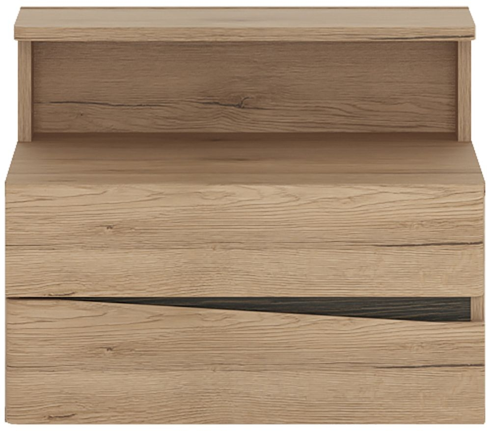 Kensington Oak Left Hand Facing Wall Bedside Cabinet