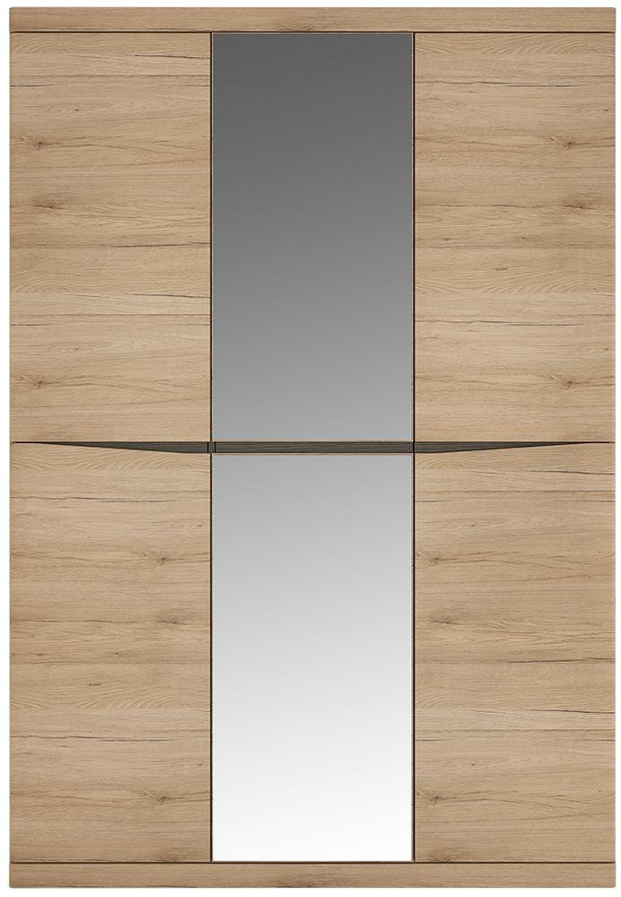 Kensington Oak Wardrobe - 3 Door with Centre Mirror Door