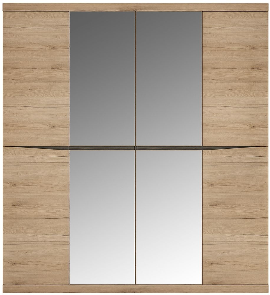 Kensington Oak 4 Door Mirror Wardrobe