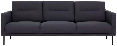 Larvik Antracit Fabric 3 Seater Sofa with Black Metal Legs