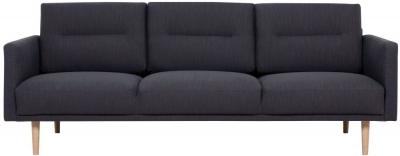 Larvik Antracit Fabric 3 Seater Sofa with Oak Legs