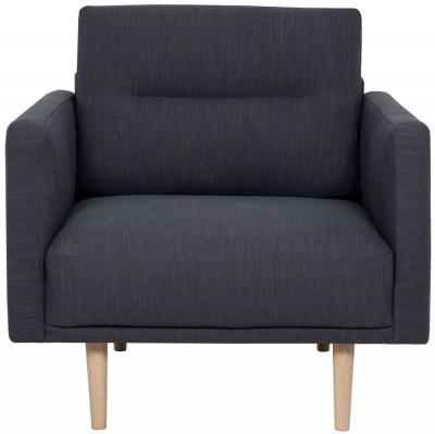 Larvik Antracit Fabric Armchair with Oak Legs