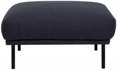 Larvik Antracit Fabric Footstool with Black Metal Legs