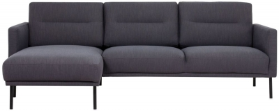 Larvik Antracit Fabric Left Hand Facing Chaise Longue Sofa with Black Metal Legs