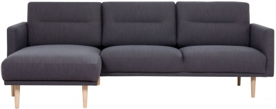 Larvik Antracit Fabric Left Hand Facing Chaise Longue Sofa with Oak Legs