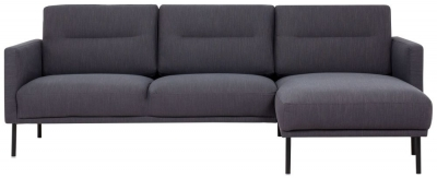 Larvik Antracit Fabric Right Hand Facing Chaise Longue Sofa with Black Metal Legs