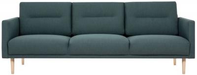 Larvik Dark Green Fabric 3 Seater Sofa with Oak Legs