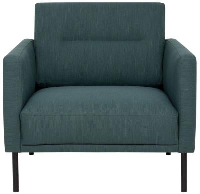 Larvik Dark Green Fabric Armchair with Black Metal Legs