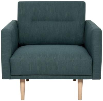 Larvik Dark Green Fabric Armchair with Oak Legs