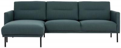 Larvik Dark Green Fabric Left Hand Facing Chaise Longue Sofa with Black Metal Legs