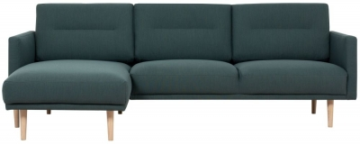 Larvik Dark Green Fabric Left Hand Facing Chaise Longue Sofa with Oak Legs