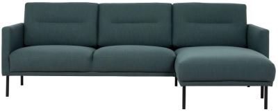 Larvik Dark Green Fabric Right Hand Facing Chaise Longue Sofa with Black Metal Legs