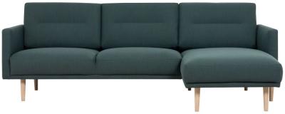 Larvik Dark Green Fabric Right Hand Facing Chaise Longue Sofa with Oak Legs
