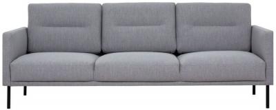 Larvik Grey Fabric 3 Seater Sofa with Black Metal Legs