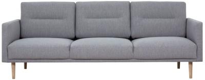 Larvik Grey Fabric 3 Seater Sofa with Oak Legs