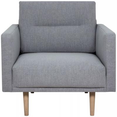 Larvik Grey Fabric Armchair with Oak Legs