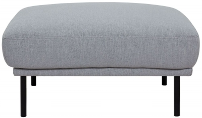 Larvik Grey Fabric Footstool with Black Metal Legs