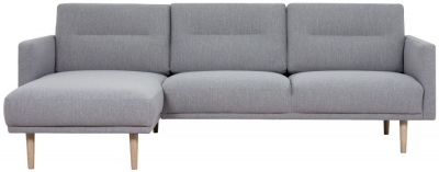 Larvik Grey Fabric Left Hand Facing Chaise Longue Sofa with Oak Legs