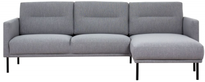 Larvik Grey Fabric Right Hand Facing Chaise Longue Sofa with Black Metal Legs
