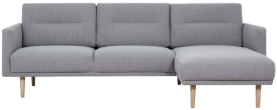 Larvik Grey Fabric Right Hand Facing Chaise Longue Sofa with Oak Legs