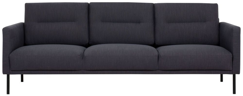 Larvik Antracit Fabric 3 Seater Sofa with Black Metal Legs