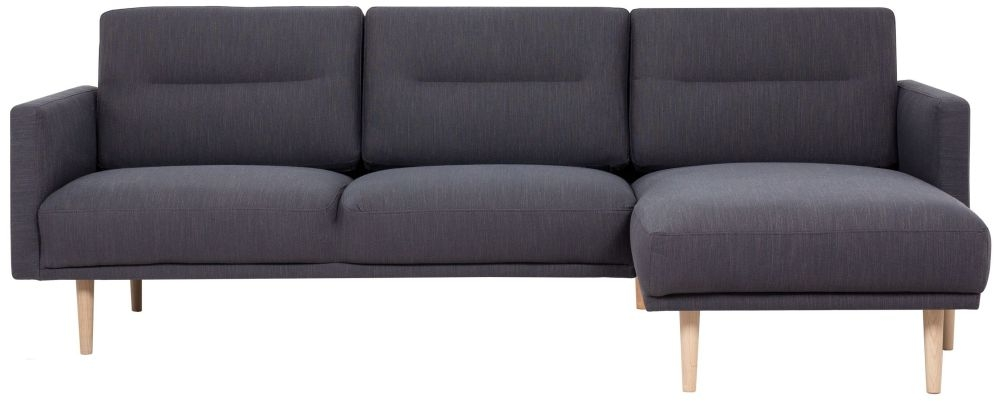 Larvik Antracit Fabric Right Hand Facing Chaise Longue Sofa with Oak Legs