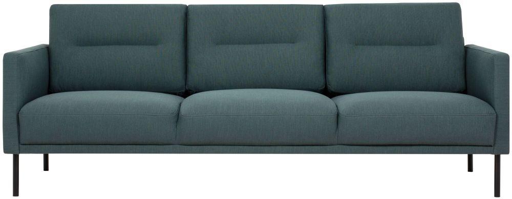 Larvik Dark Green Fabric 3 Seater Sofa with Black Metal Legs