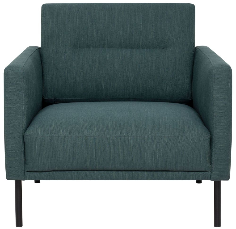 Larvik Dark Green Fabric Armchair with Black Metal Legs