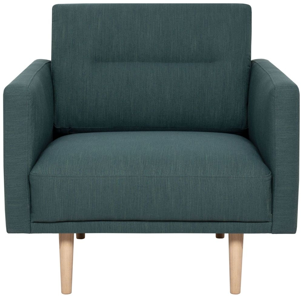 Larvik Dark Green Fabric Armchair with Oak Legs