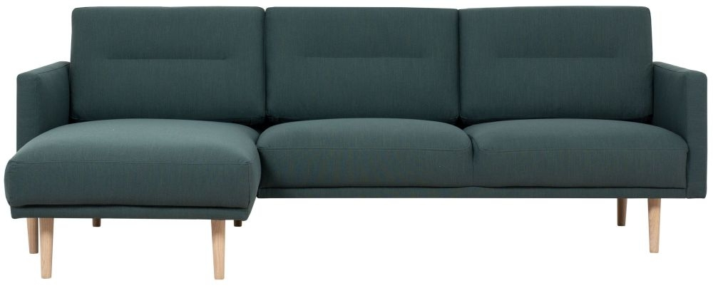 Larvik Dark Green Fabric Left Hand Facing Chaise Longue Sofa with Oak Legs