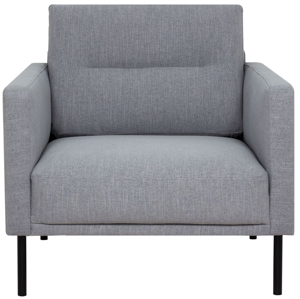 Larvik Grey Fabric Armchair with Black Metal Legs