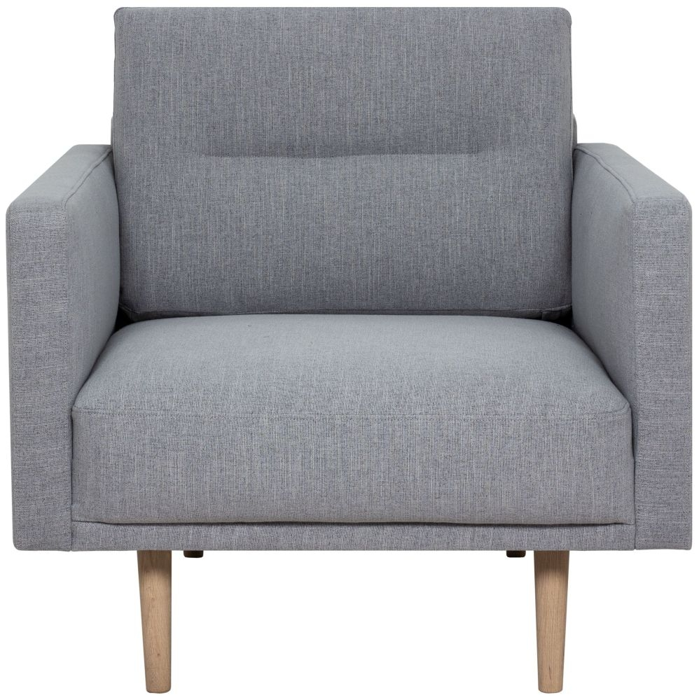 Larvik Grey Fabric Armchair with Oak Legs