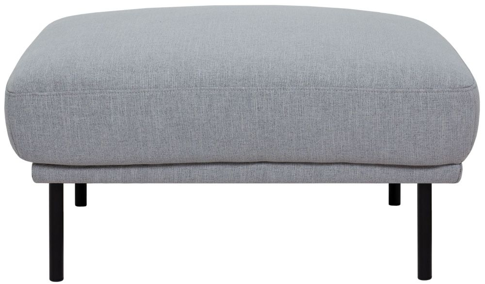 Larvik Grey Fabric Footstool with Black Metal Legs