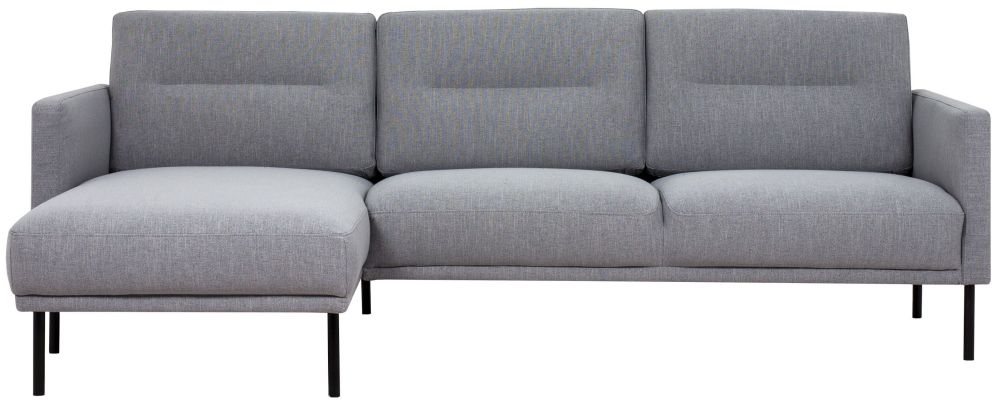 Larvik Grey Fabric Left Hand Facing Chaise Longue Sofa with Black Metal Legs