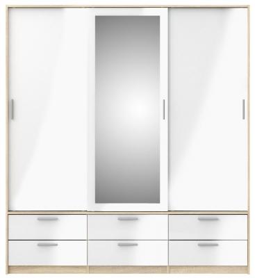 Line 3 Door Wardrobe - Oak and White High Gloss