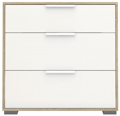 Line 3 Drawer Chest - Oak and White High Gloss
