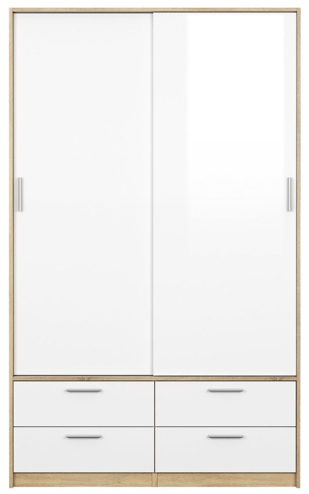 Line 2 Door Tall Combi Wardrobe - Oak and White High Gloss