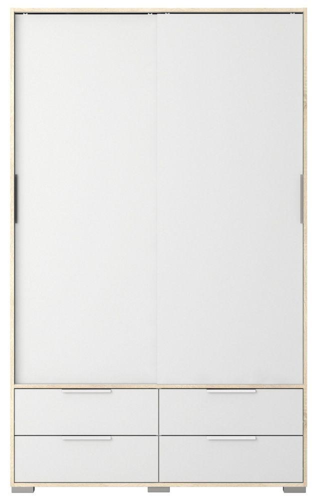 Line 2 Door Combi Wardrobe - Oak and White High Gloss