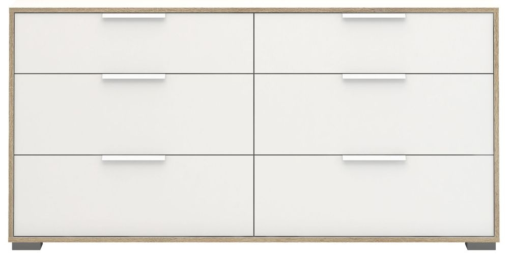 Line 6 Drawer Chest - Oak and White High Gloss