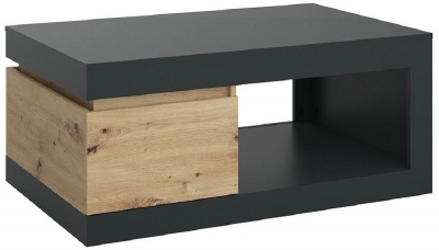 Luci Platinum and Oak 1 Drawer Coffee Table