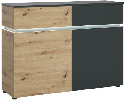 Luci Platinum and Oak 2 Door Cabinet with LED Light