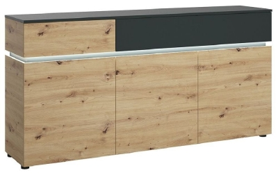Luci Platinum and Oak 3 Door Sideboard with LED Light