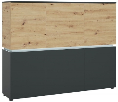 Luci Platinum and Oak 6 Door Cabinet with LED Light