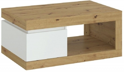 Luci White and Oak 1 Drawer Coffee Table
