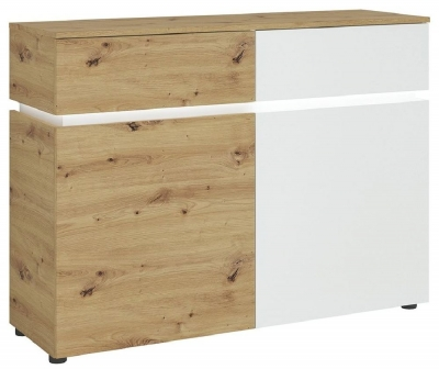 Luci White and Oak 2 Door Cabinet with LED Light