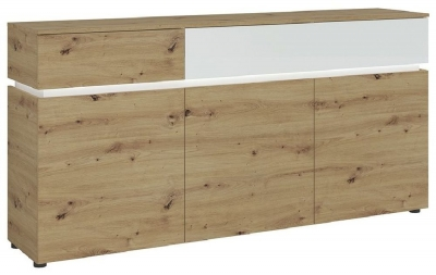 Luci White and Oak 3 Door Sideboard with LED Light